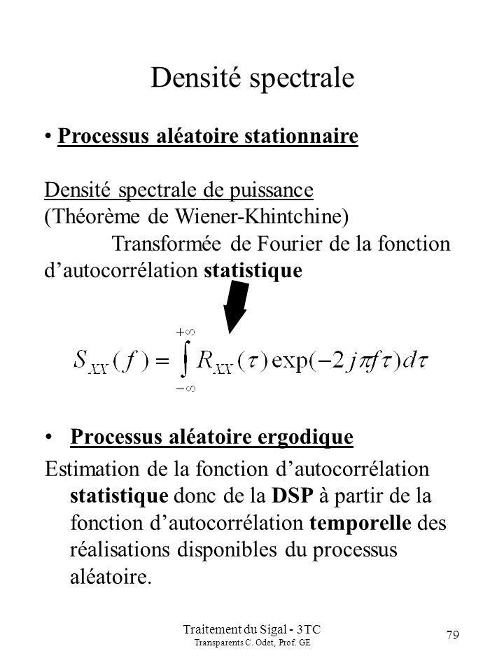 Introduction Paramètres statistiques d'un signal aléatoire: