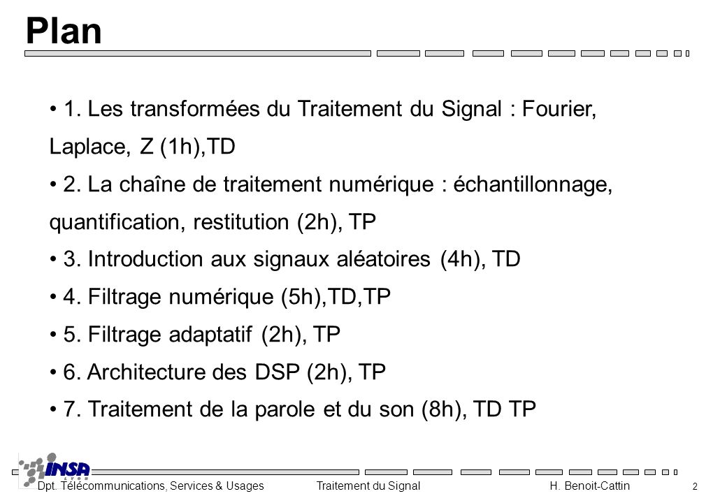 Plan 1. Les transformées du Traitement du Signal : Fourier, Laplace, Z (1h),TD.