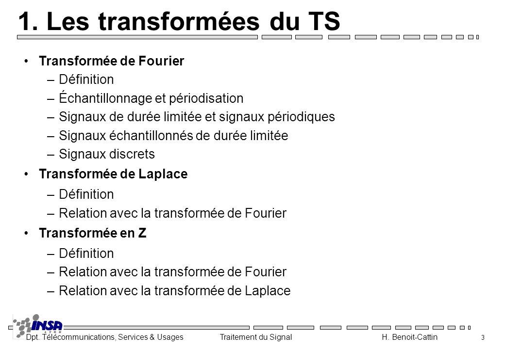 1. Les transformées du TS Transformée de Fourier Définition