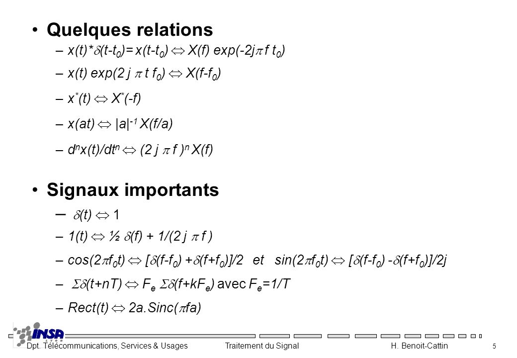 Quelques relations Signaux importants d(t)  1