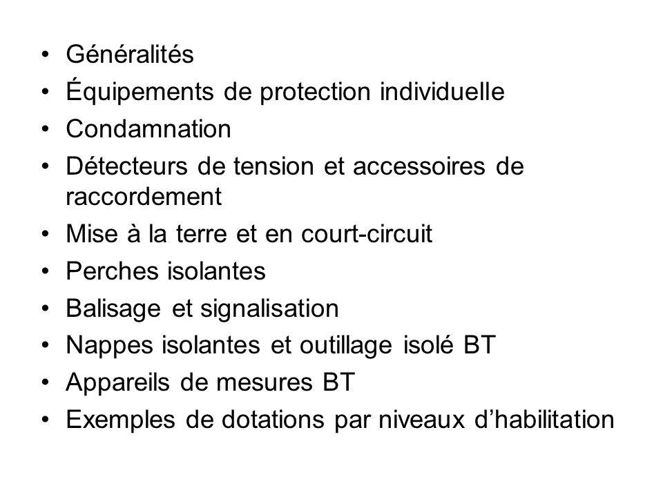 Généralités Équipements de protection individuelle. Condamnation. Détecteurs de tension et accessoires de raccordement.