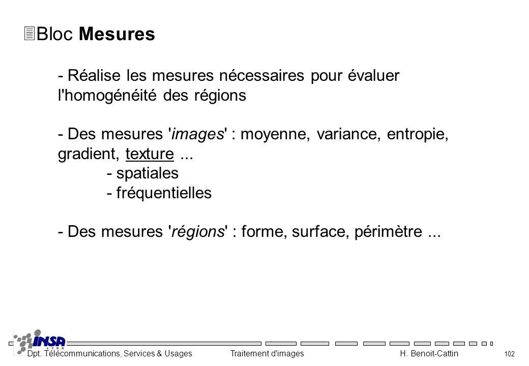 Bloc Mesures - Réalise les mesures nécessaires pour évaluer l homogénéité des régions.