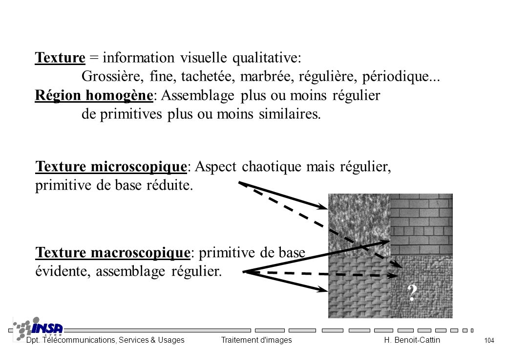 Texture = information visuelle qualitative: