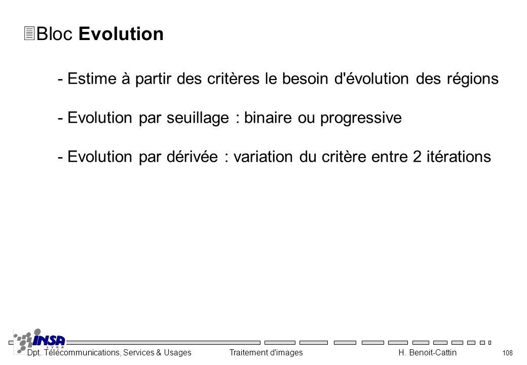 Bloc Evolution - Estime à partir des critères le besoin d évolution des régions. - Evolution par seuillage : binaire ou progressive.