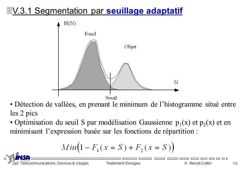 V.3.1 Segmentation par seuillage adaptatif