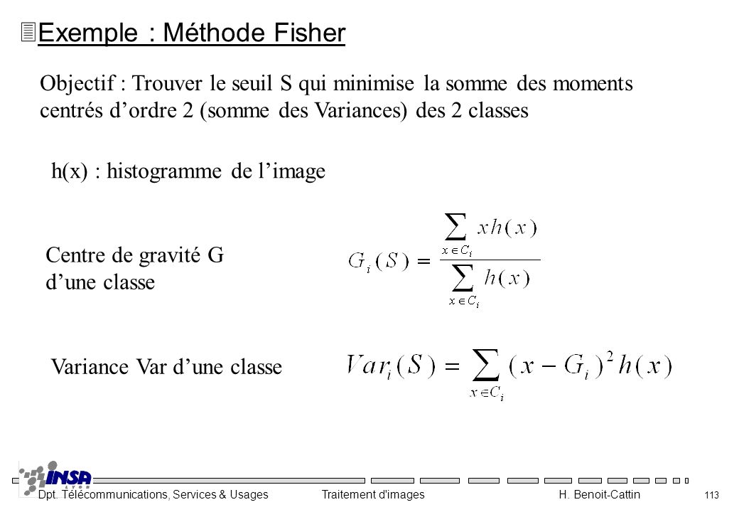 Exemple : Méthode Fisher