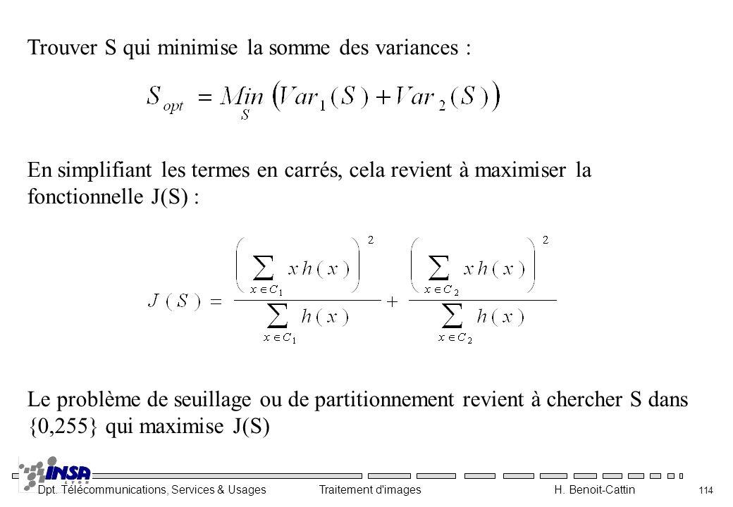 Trouver S qui minimise la somme des variances :