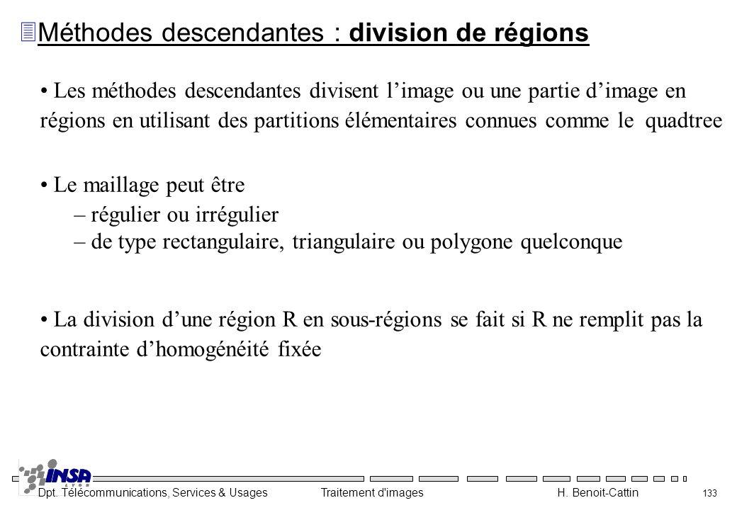 Méthodes descendantes : division de régions