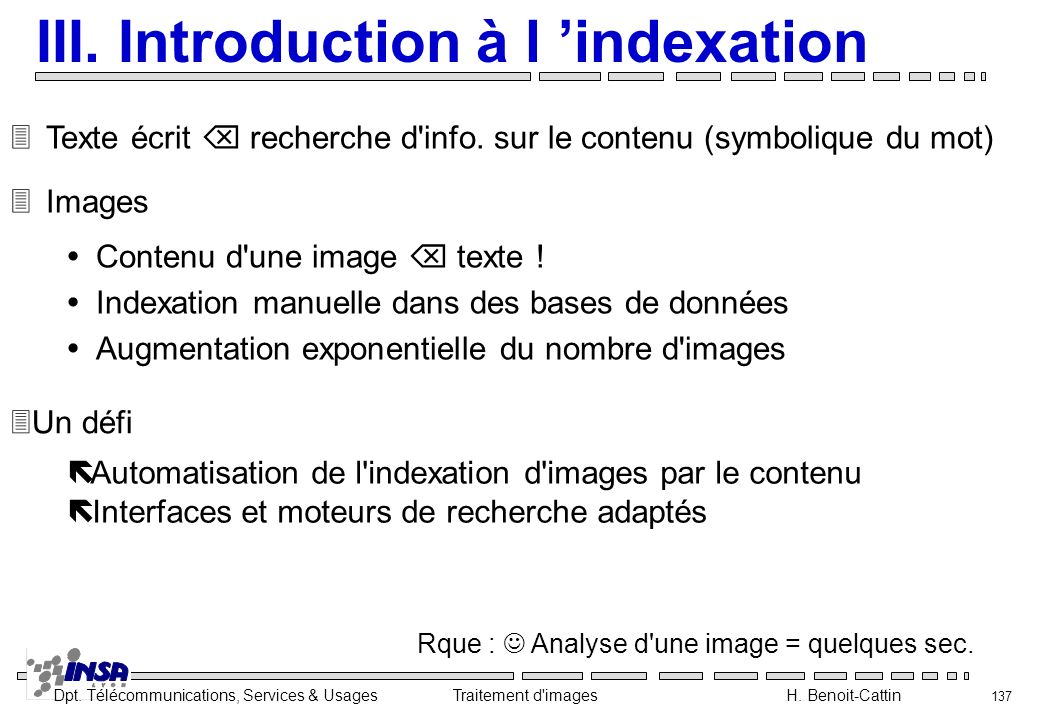 III. Introduction à l 'indexation
