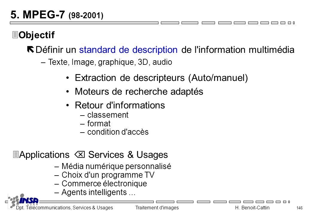 5. MPEG-7 (98-2001) Objectif. Définir un standard de description de l information multimédia. Texte, Image, graphique, 3D, audio.