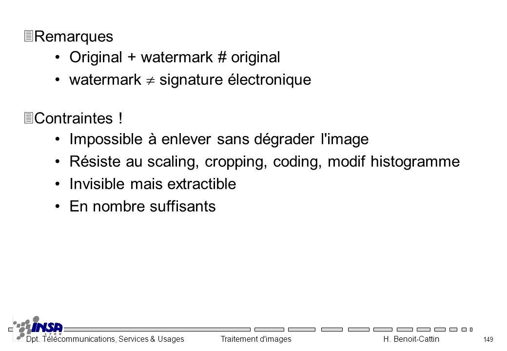 Remarques Original + watermark # original. watermark  signature électronique. Contraintes ! Impossible à enlever sans dégrader l image.
