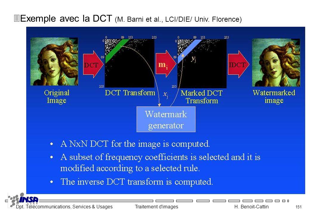 Exemple avec la DCT (M. Barni et al., LCI/DIE/ Univ. Florence)
