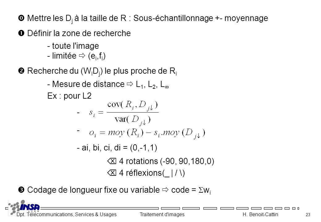  Mettre les Dj à la taille de R : Sous-échantillonnage +- moyennage