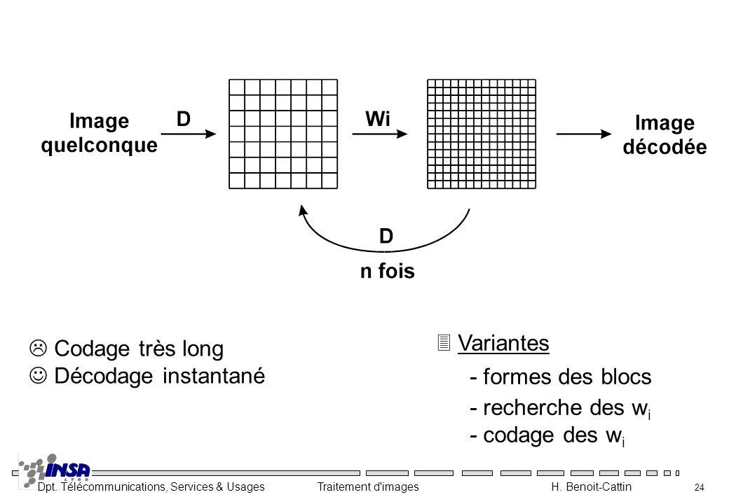 Variantes - formes des blocs. - recherche des wi.