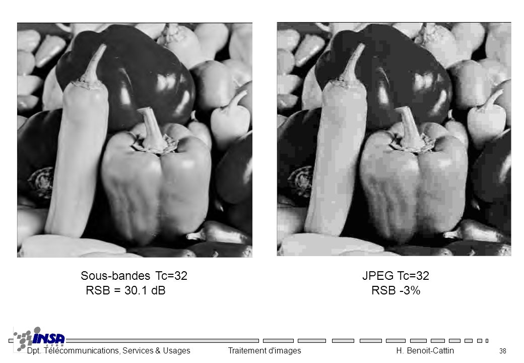 Sous-bandes Tc=32 RSB = 30.1 dB JPEG Tc=32 RSB -3%