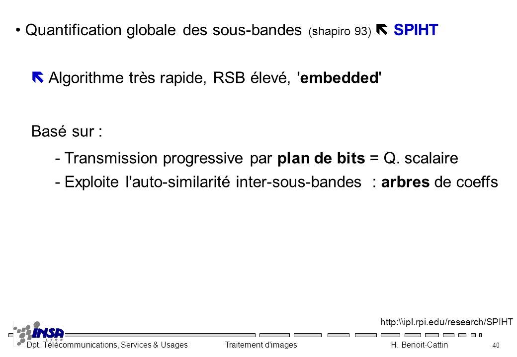 Quantification globale des sous-bandes (shapiro 93)  SPIHT