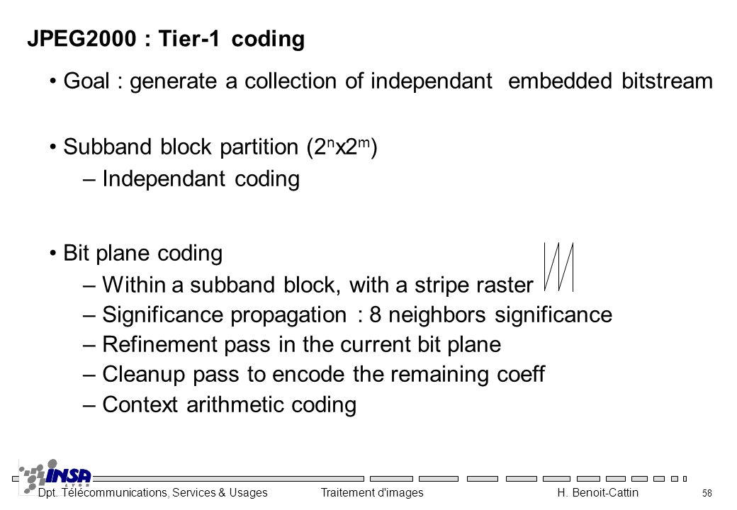 JPEG2000 : Tier-1 coding Goal : generate a collection of independant embedded bitstream. Subband block partition (2nx2m)