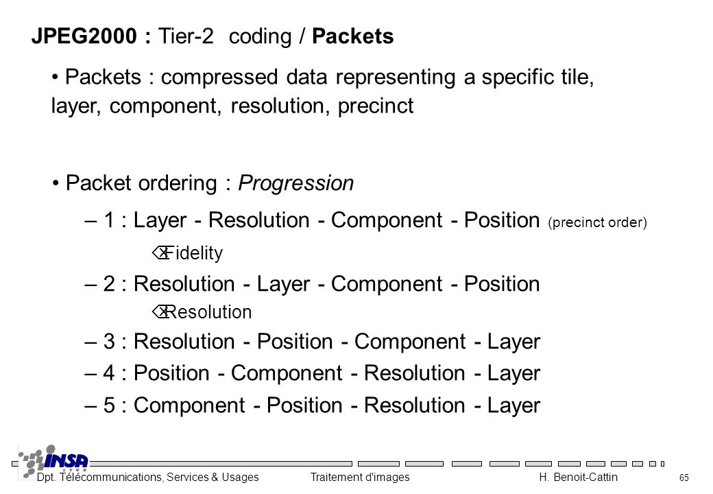 JPEG2000 : Tier-2 coding / Packets