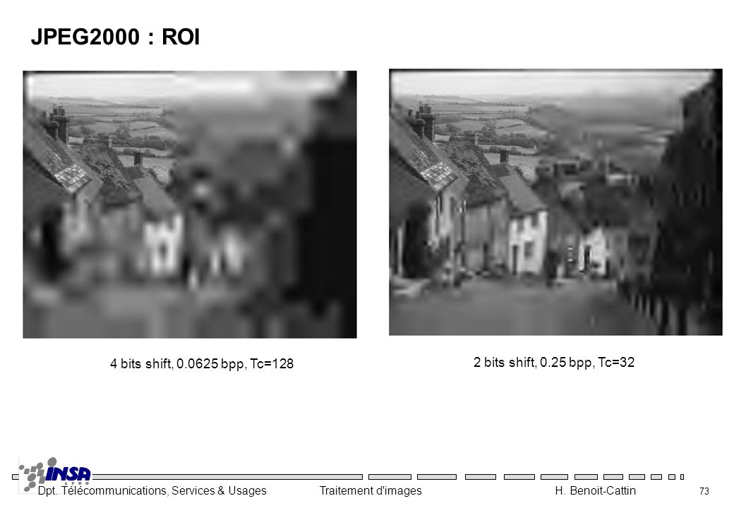 JPEG2000 : ROI 4 bits shift, bpp, Tc=128