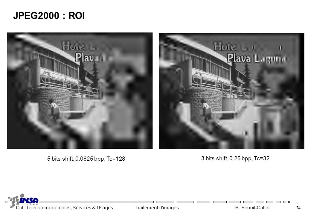 JPEG2000 : ROI 5 bits shift, bpp, Tc=128