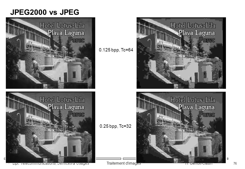 JPEG2000 vs JPEG 0.125 bpp, Tc=64 0.25 bpp, Tc=32