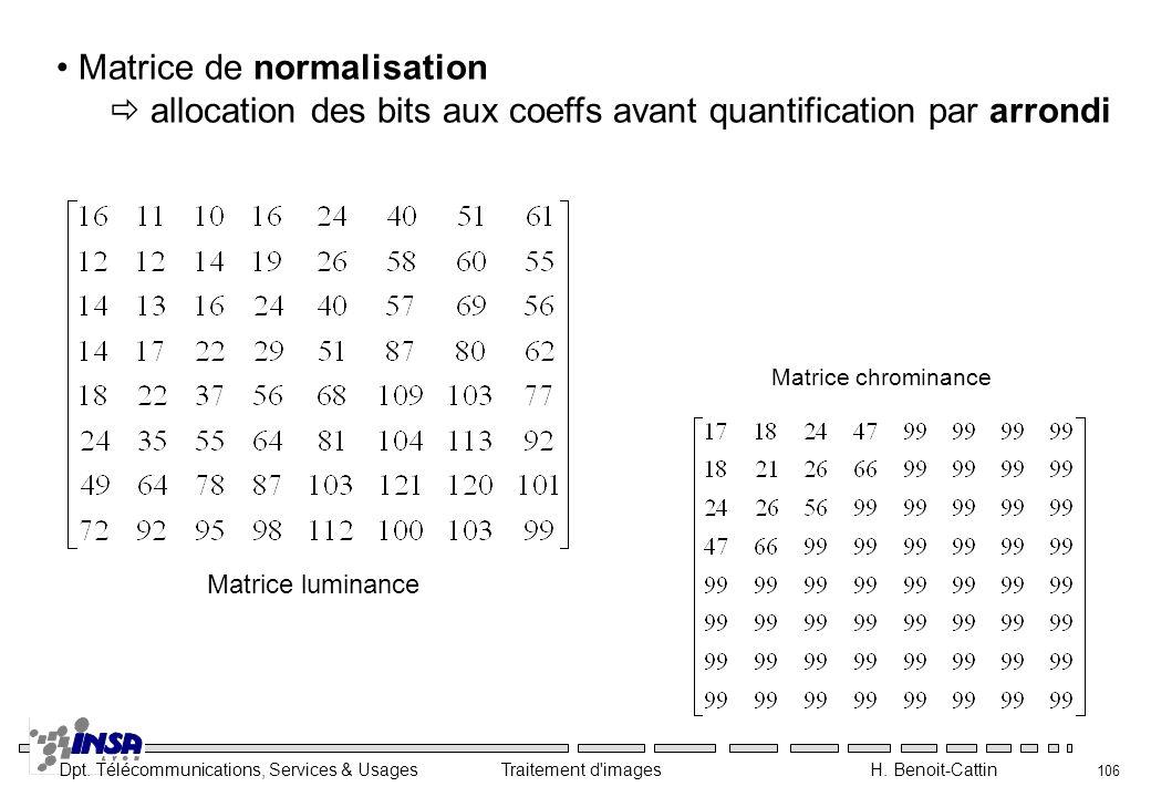 Matrice de normalisation