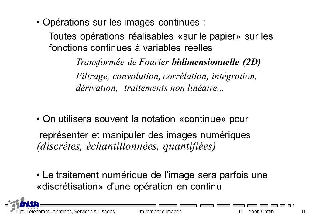 Opérations sur les images continues :