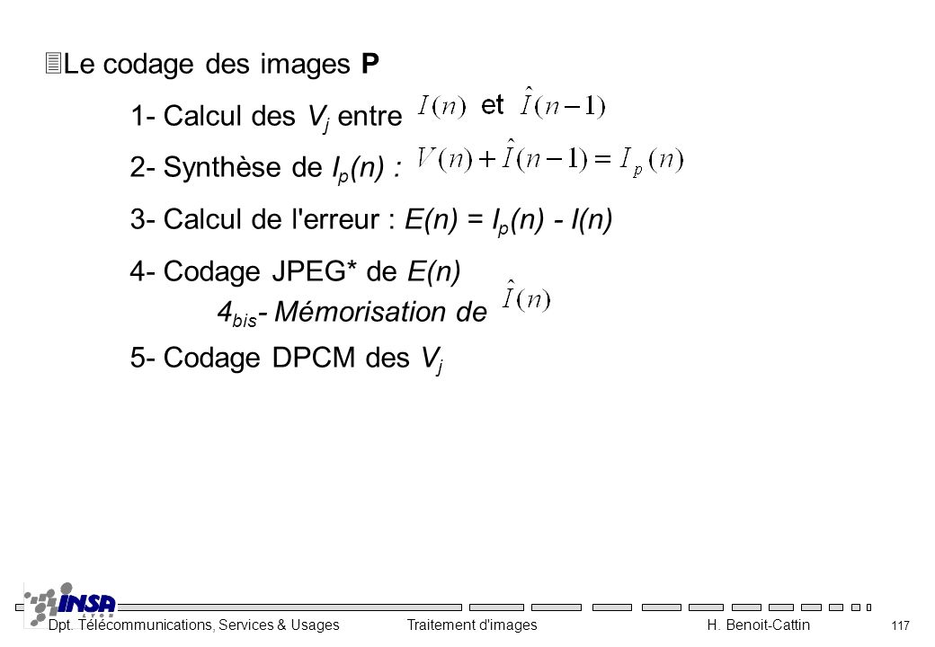 Le codage des images P 1- Calcul des Vj entre. 2- Synthèse de Ip(n) : 3- Calcul de l erreur : E(n) = Ip(n) - I(n)