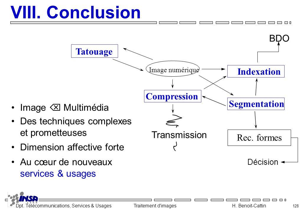 VIII. Conclusion BDO Tatouage Indexation Compression Segmentation