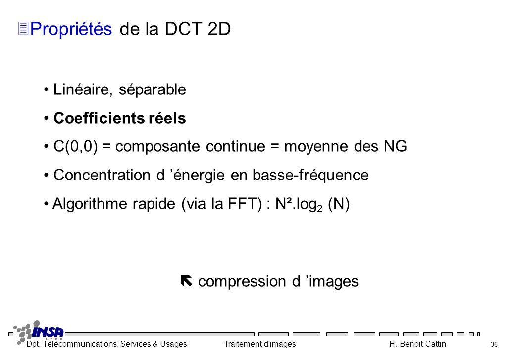 Propriétés de la DCT 2D Linéaire, séparable Coefficients réels