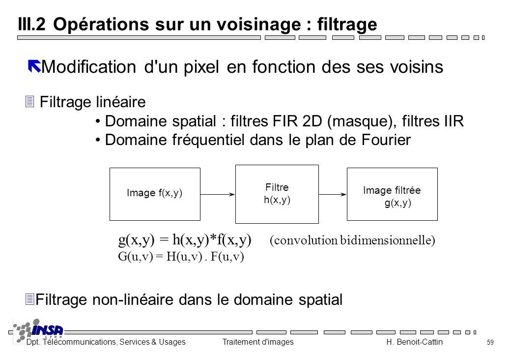 III.2 Opérations sur un voisinage : filtrage
