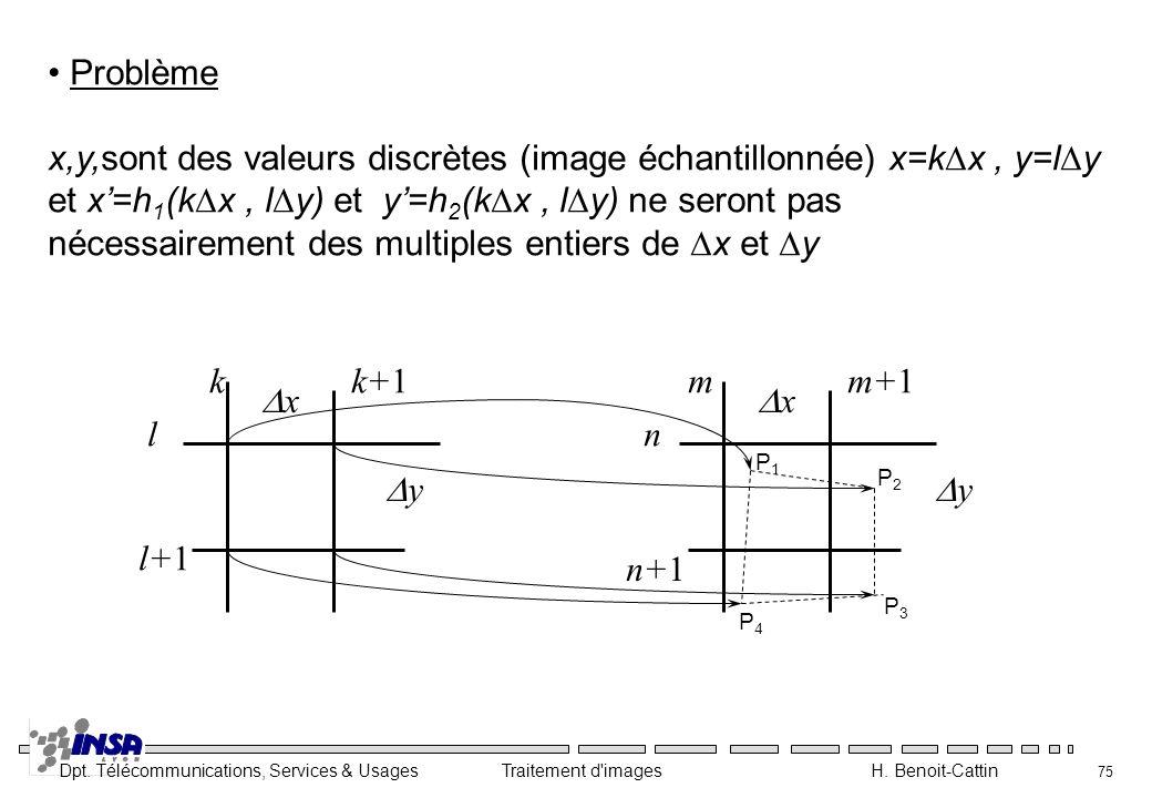 x,y,sont des valeurs discrètes (image échantillonnée) x=kDx , y=lDy