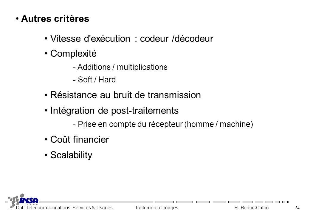 Vitesse d exécution : codeur /décodeur Complexité