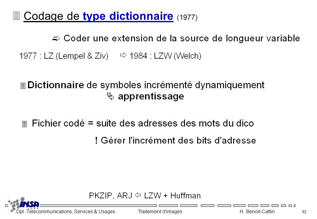 Codage de type dictionnaire (1977)