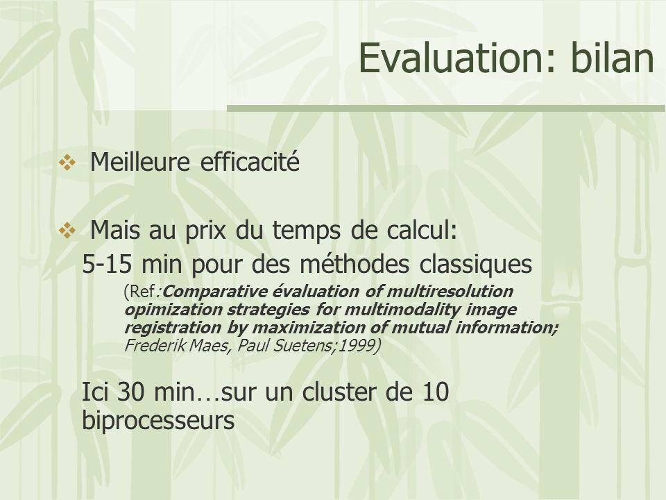 Evaluation: bilan Meilleure efficacité