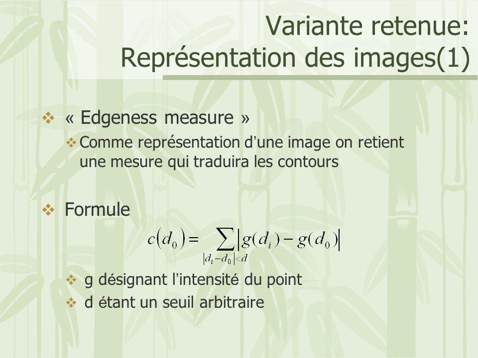 Variante retenue: Représentation des images(1)