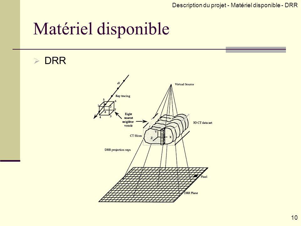 Matériel disponible DRR
