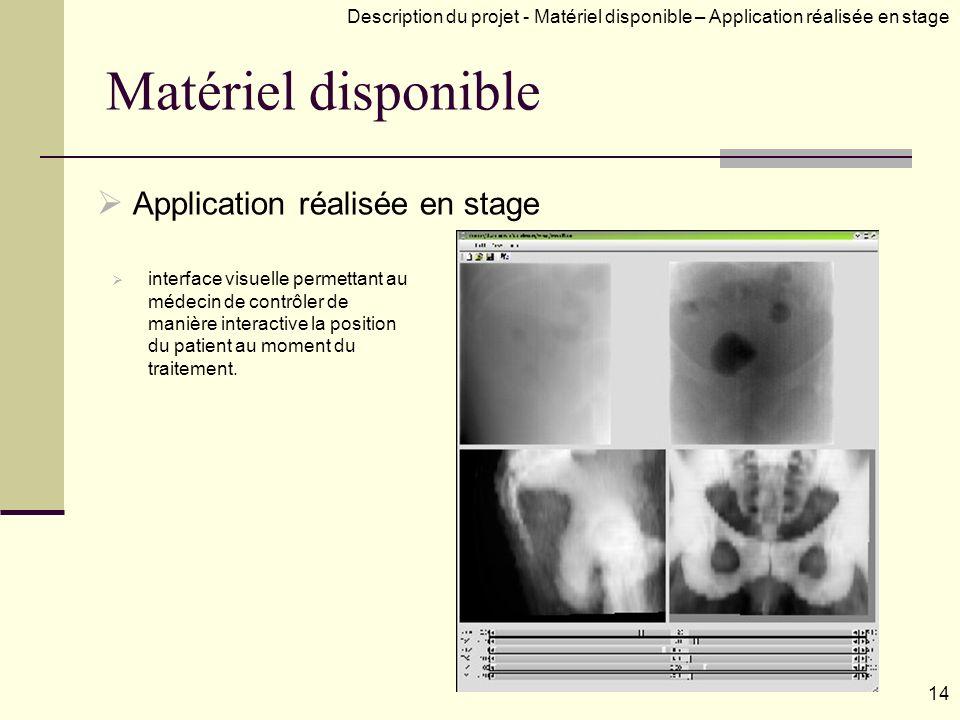 Matériel disponible Application réalisée en stage