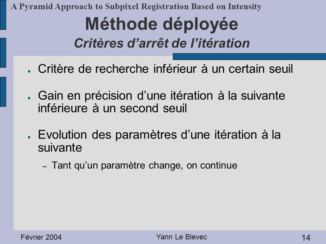 Méthode déployée Critères d'arrêt de l'itération