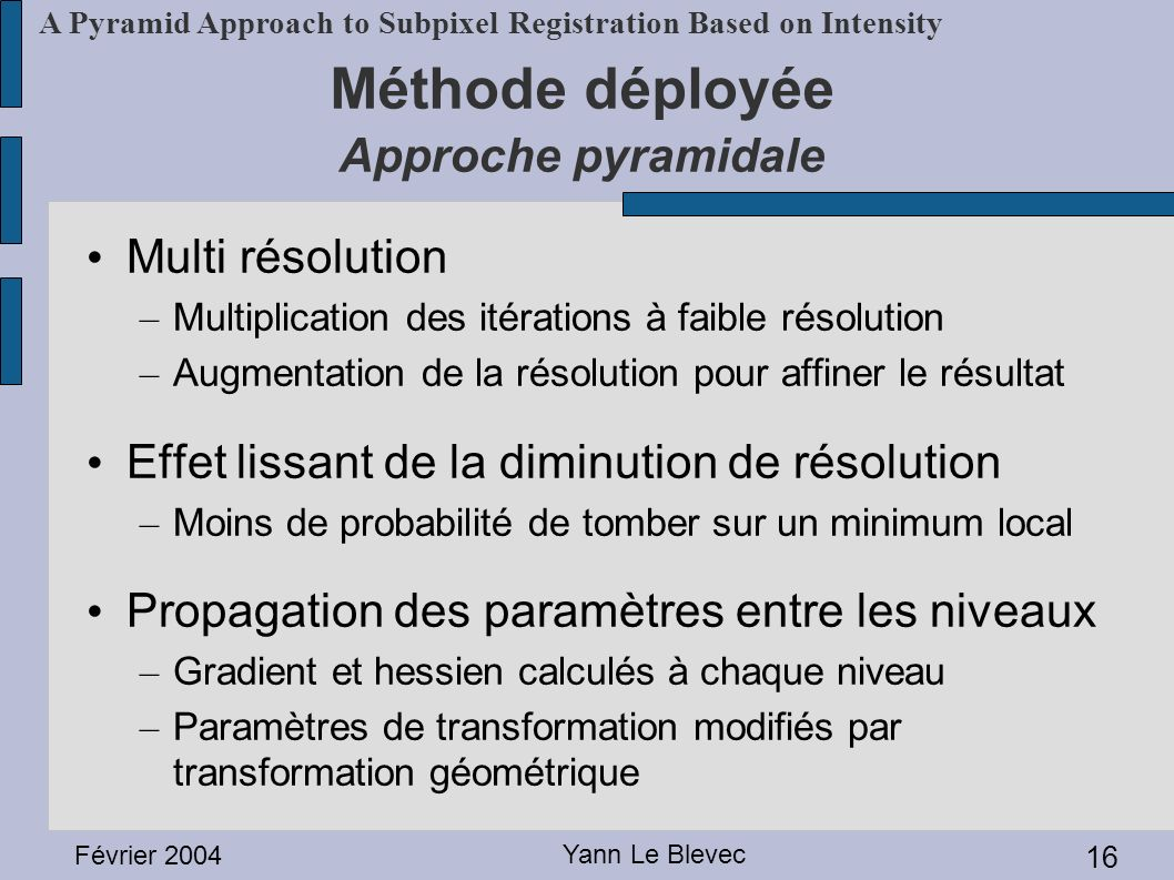 Méthode déployée Approche pyramidale