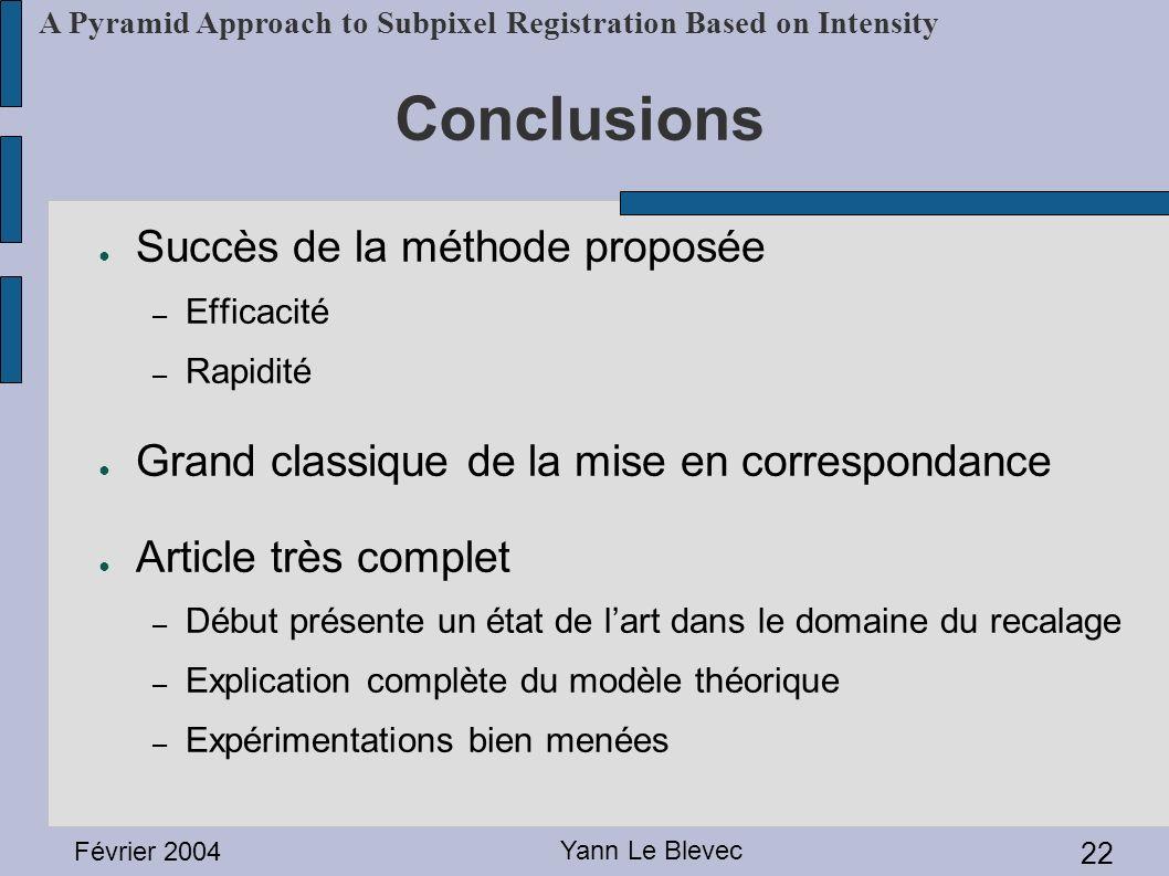 Conclusions Succès de la méthode proposée