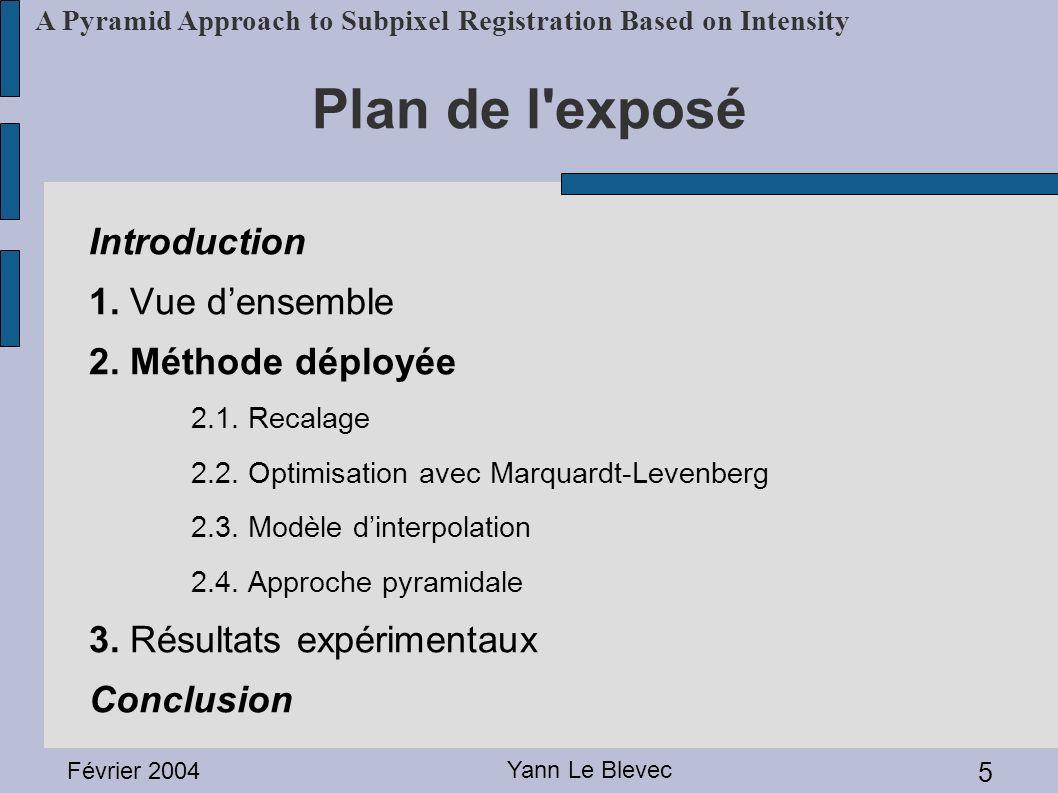Plan de l exposé Introduction 1. Vue d'ensemble 2. Méthode déployée