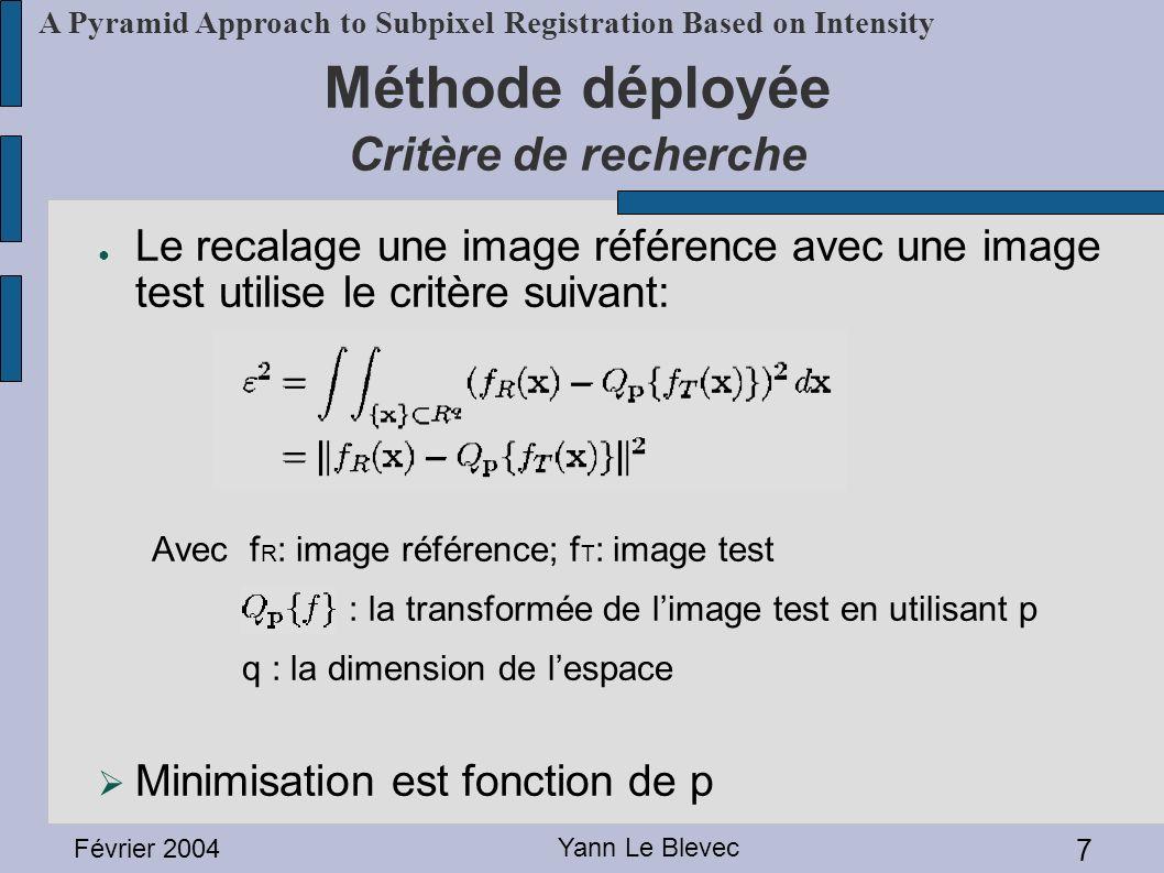 Méthode déployée Critère de recherche