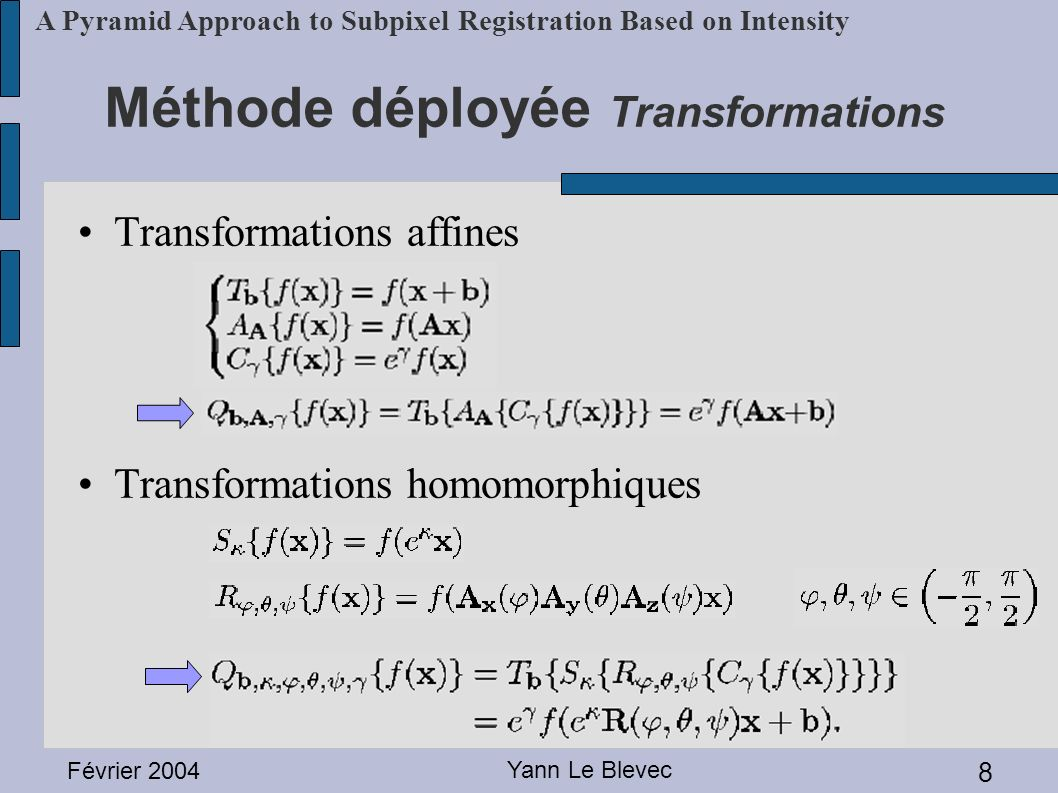 Méthode déployée Transformations