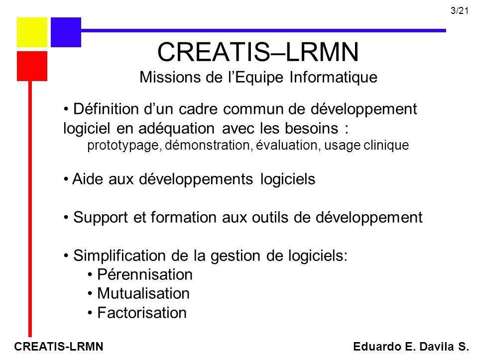 CREATIS–LRMN Missions de l'Equipe Informatique
