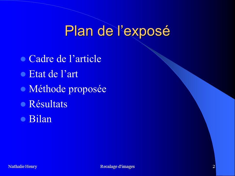 Plan de l'exposé Cadre de l'article Etat de l'art Méthode proposée