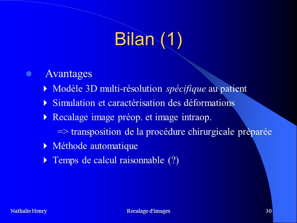 Bilan (1) Avantages  Modèle 3D multi-résolution spécifique au patient
