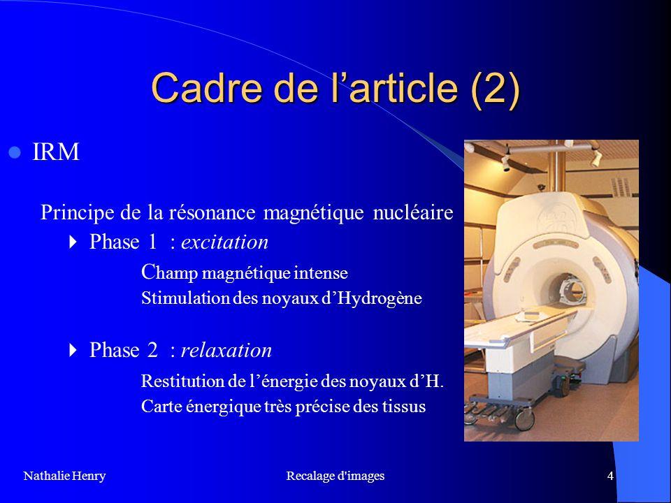 Cadre de l'article (2) IRM