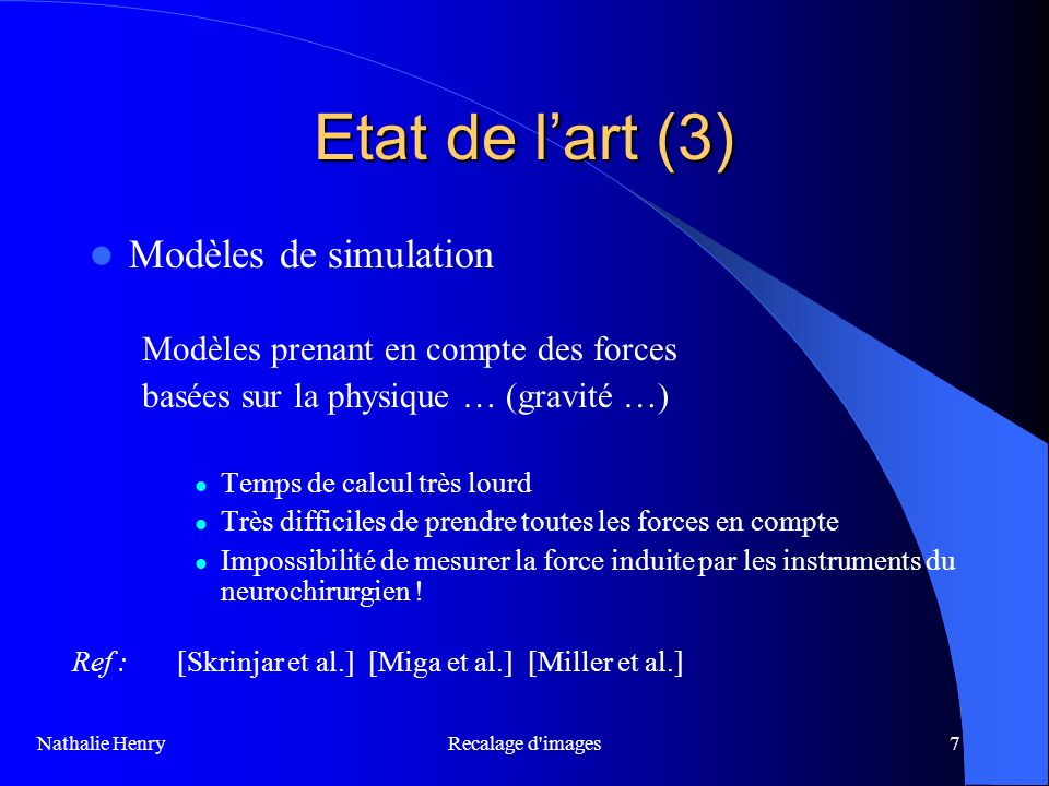 Etat de l'art (3) Modèles de simulation