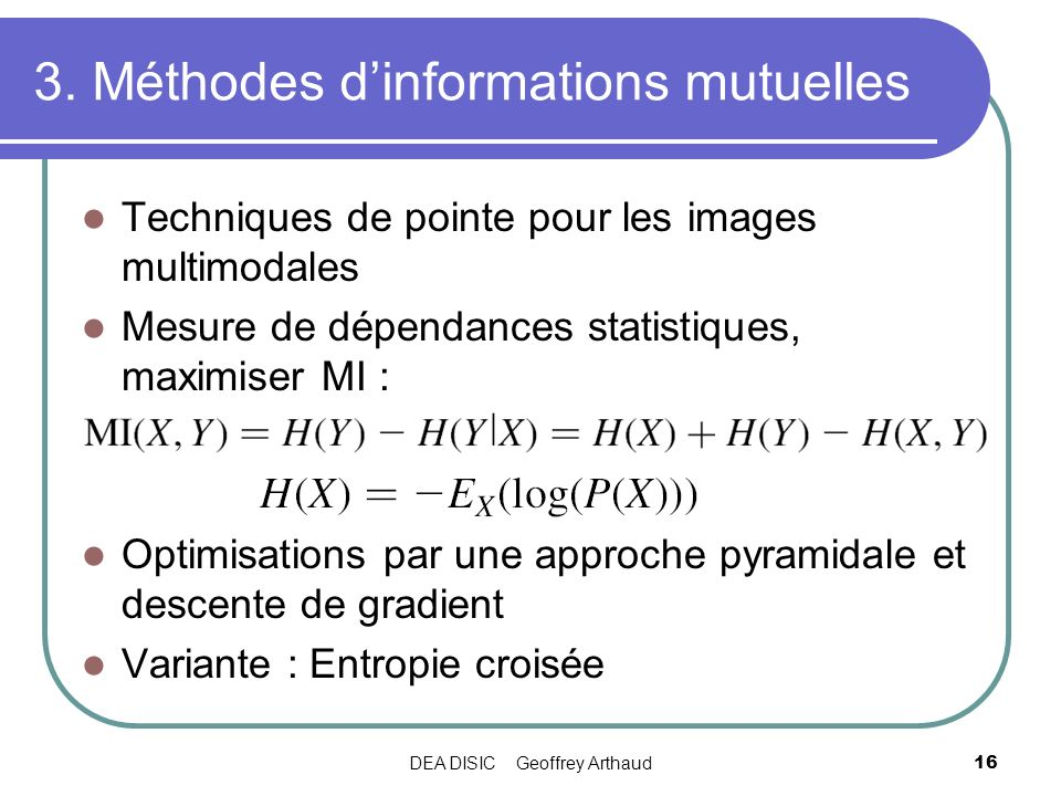 3. Méthodes d'informations mutuelles